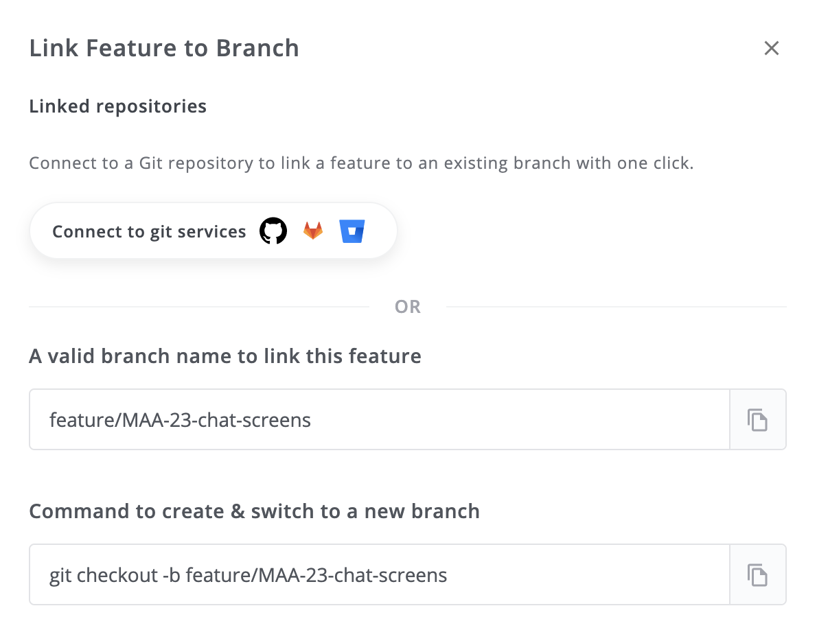 Link Features to Branch